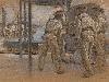 Free Artistic Wallpaper : Adolf Hirémy-Hirschl - Sailors in the Harbour of Pola