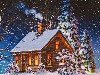 Free Artistic Wallpaper : Christmas Cottage - Vintage
