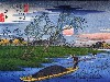 Free Artistic Wallpaper : Hiroshige - Men Poling Boats Past a Bank With Willows
