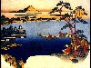Free Artistic Wallpaper : Hokusai - View of Lake Suwa