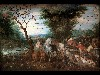 Free Artistic Wallpaper : Jan Brueghel the Elder - Paradise Landscape with Animal Entering Noahs Ark