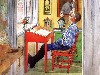 Free Artistic Wallpaper : Carl Larsson - Esbjorn Doing his Homework