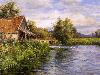 Free Artistic Wallpaper : Louis Aston Knight - Cottage by the River