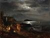 Free Artistic Wallpaper : Oswald Achenbach - The Bay of Naples by Moonlight
