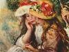 Free Artistic Wallpaper : Renoir - Zwei lesende Mädchen in einem Garten