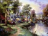 Free Artistic Wallpaper : Thomas Kinkade - Along the Lighted Path