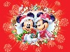 Free Cartoons Wallpaper : Christmas - Mickey and Minnie