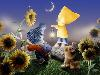 Free Cartoons Wallpaper : Kids in a Sunflower Garden