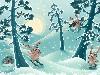 Free Cartoons Wallpaper : Skiing Rabbits
