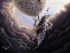 Free Fantasy Wallpaper : Dragon Attacks Air Ship