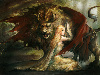 Free Fantasy Wallpaper : Manticore and the Lady