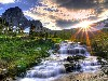 Free Nature Wallpaper : Waterfall and Sunset